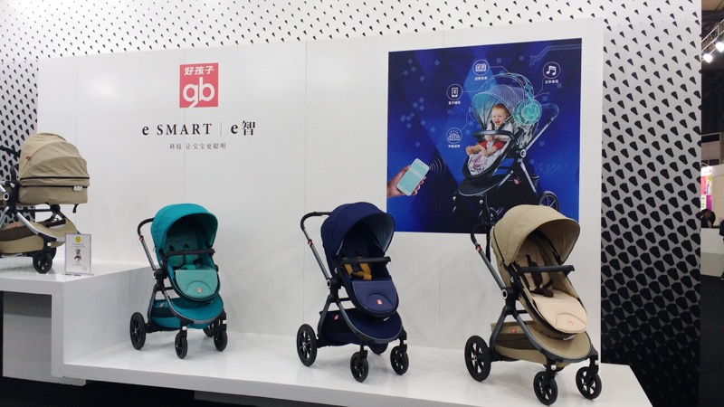Goodbaby's e Smart stroller connects to your smartphone and play your music.